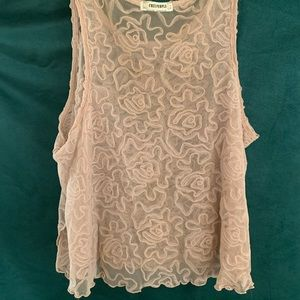 Free People Mauve embroidered mesh lace shirt